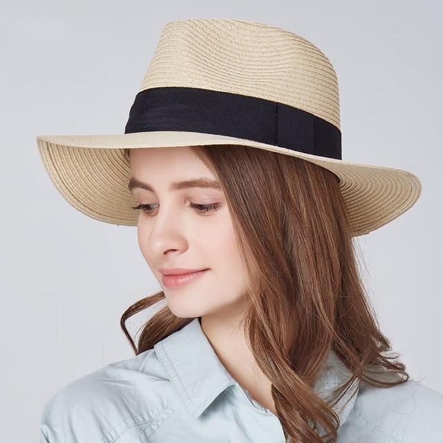 ba61c087781 Ladies Beach Hat Men Wide Brim Straw Panama Roll up Hats Sea Sun Caps Golf Summer  Female Jazz Visor Cap Outdoor Camping Vacation