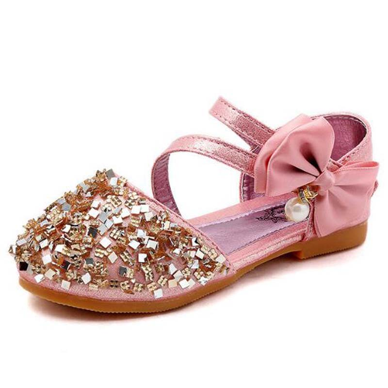 Spring  New Children  Casual  Shoes Leather  Girls Princess Flat Heel Party Shoes Fashion Sequins Bow Pearl Kids Shoes For Girls