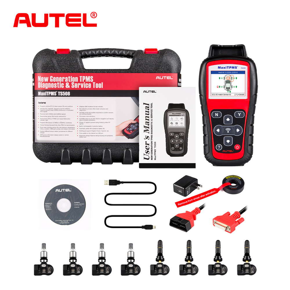 US $443 56 31% OFF|Autel TS508K Premium TPMS Service Tool Activate Tire  Pressure Sensor Program ECU With 315MHz & 433MHz Programmable Sensors-in