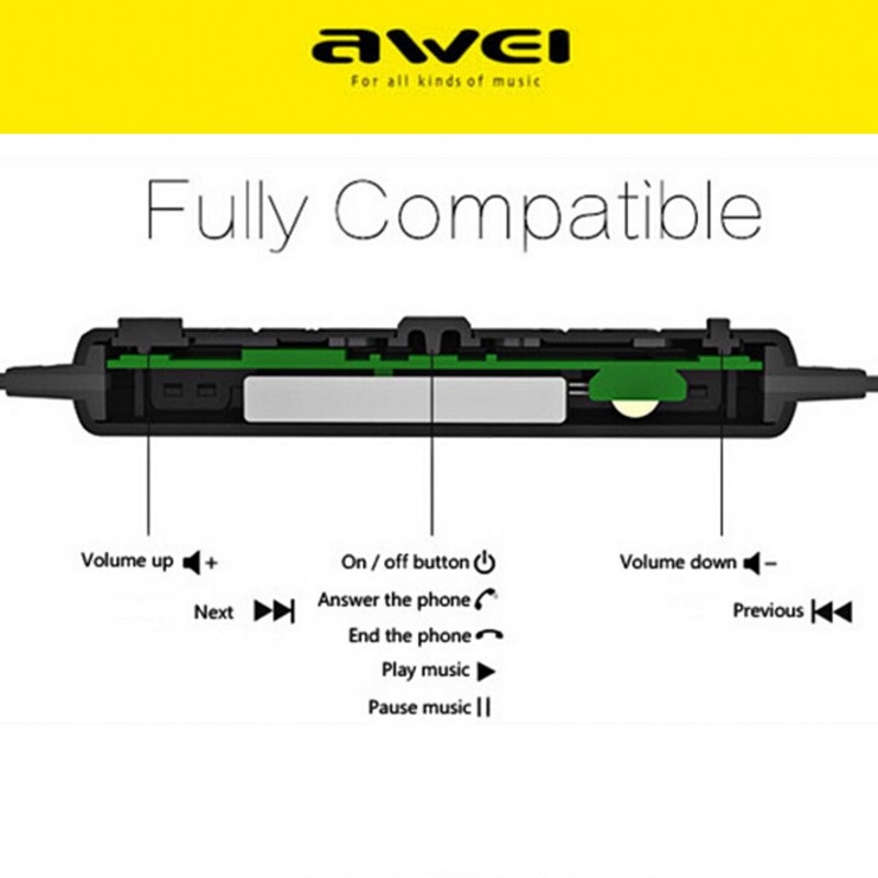 Awei Blutooth Sport Headset In-Ear Cordless Wireless Headphone Auriculares Bluetooth Earphone For Your In Ear Phone Buds Earbud 4