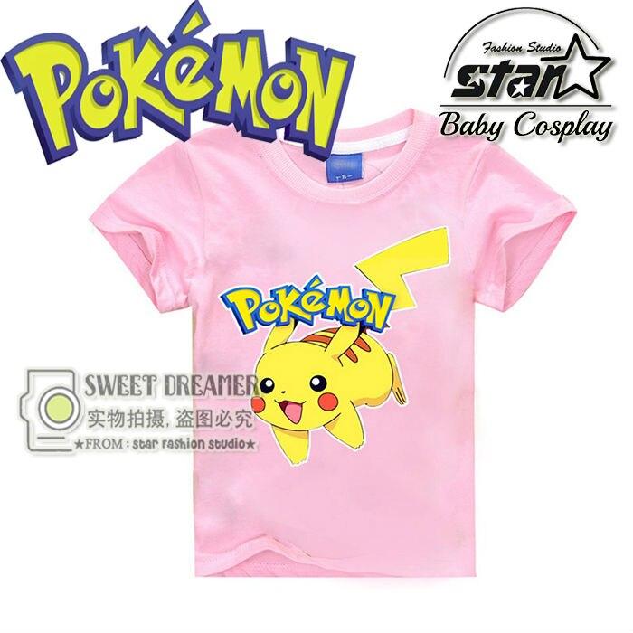 4 11T Summer Cartoon Children Top Pokemon T shirts Pikachu Charmander font b Kids b font