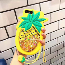 Pineapple Glitter Quick Sand Case with Strap for iPhone XS MAX X XR Summer Drift Cover 7 8 plus 6 6s