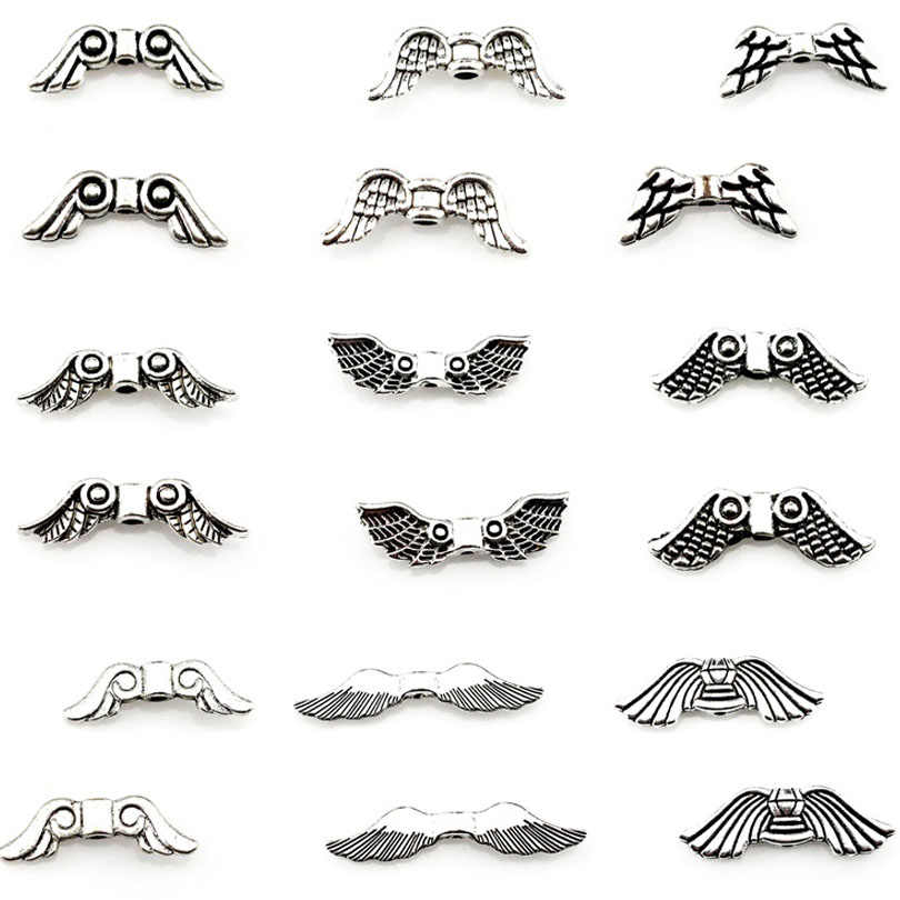 Assorted Angel Wings Beads Mixed 30PCS Antique Silver Spacers Jewelry DIY Alloy Loose Beads 22539