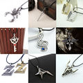 NEW Cardcaptor Sakura Card Captor Star Wand Japanese Anime Cosplay Game leather rope Sliver en Key Pendant Chain Necklace Gifts