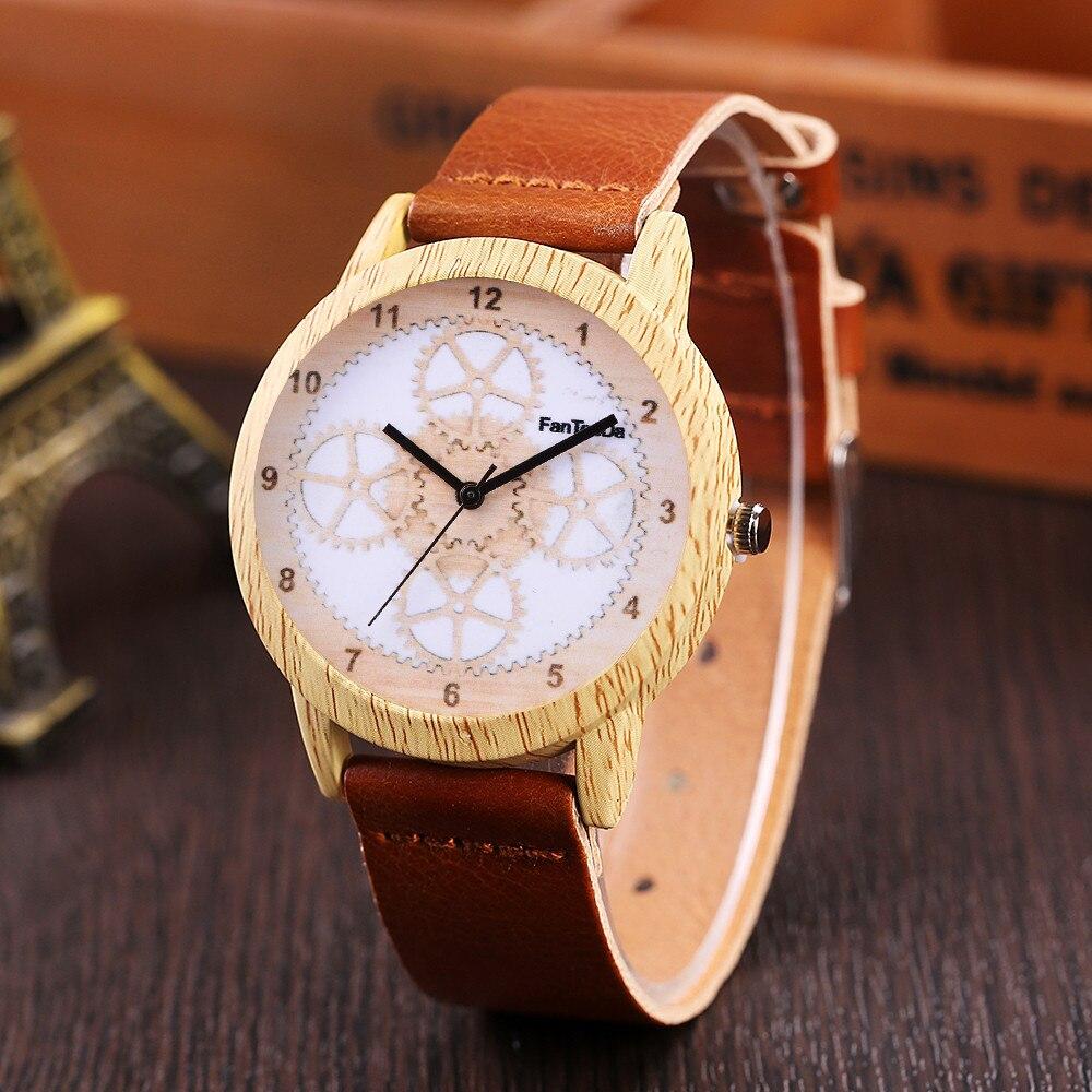 Watch Man Wooden-Design Leather-Band Quartz Luxury Erkek Round Wd3sea2 Dress Izle Analog