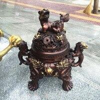 47CM large HOME House Shop hall lobby thriving business money Exorcise evil spirits talisman LION dragon bronze censer statue