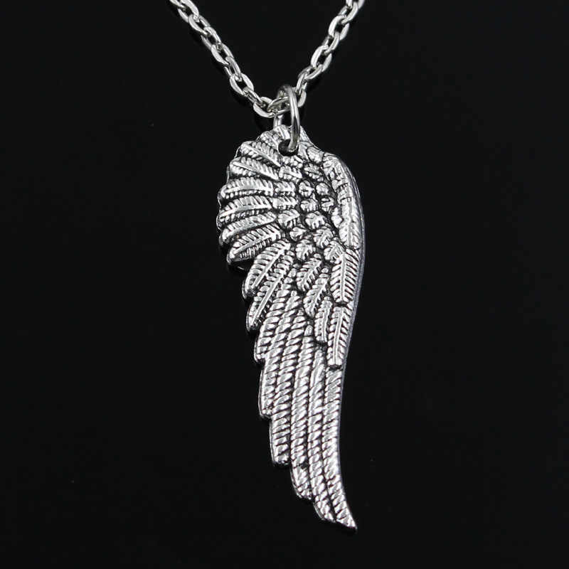 새로운 패션 천사 날개 펜던트 라운드 크로스 체인 짧은 롱 망 여성 실버 컬러 목걸이 쥬얼리 선물