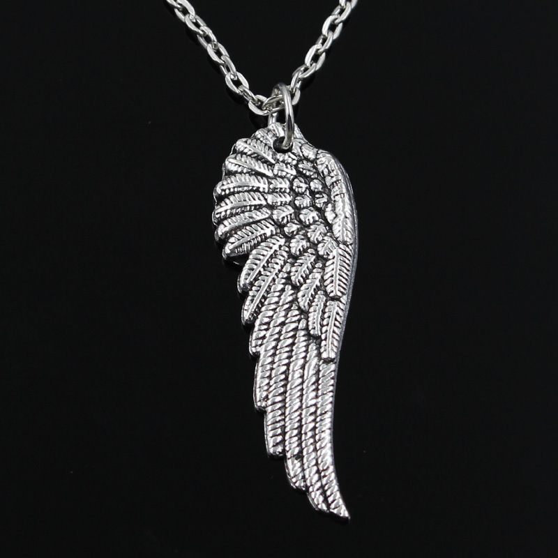 New Fashion Angel Wings Pendants Round Cross Chain Short Long Mens Womens Silver Color  Necklace Jewelry Gift