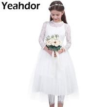 9b50d1e41 Las chicas de encaje Floral de malla de manga larga de flor chica vestido  de princesa desfile boda vestido de fiesta de cumpleañ.