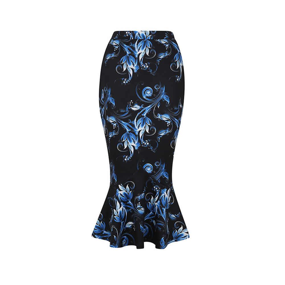 087ed43ad61 Detail Feedback Questions about Women Vintage Slim Fit Midi Skirt Fishtail  Ruffle Hem Office OL Business Skirts AIC88 on Aliexpress.com
