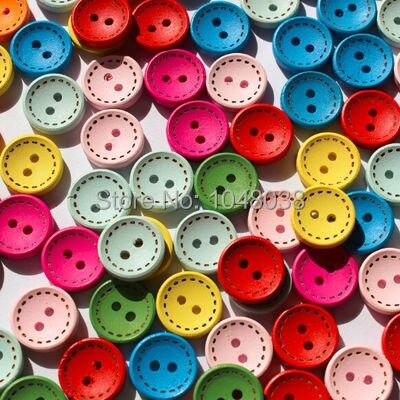 100 sztuk 15mm kolorowe drewno okrągłe flatback diy drewniane przyciski do szycia scrapbooking rzemiosła