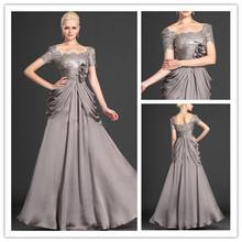 MANSA 2015 Elegant Cap Sleeves Mother Evening Dress Modest Gray Chiffon Beaded Mother Of The Bride