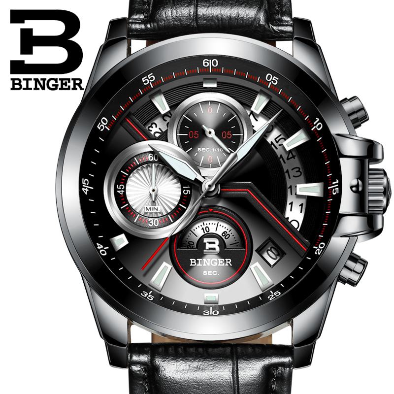 2016 Men Watches Luxury Top Brand BINGER Sports Chronograph Fashion Male Dress Leather Belt Clock Waterproof Quartz Wrist Watch new listing men watch luxury brand watches quartz clock fashion leather belts watch cheap sports wristwatch relogio male gift
