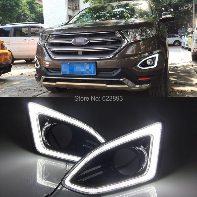 Free Shippingx Super Bright White Led Daytime Running Lights And Black Fog Lamp Cover For Ford Edge