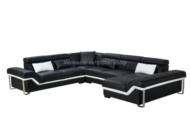 US $1780.0  2019 Armchair Chaise European Style Bean Bag Chair Sofas For  Living Room Muebles Modern Leather Sofa With Steel Leg Corner Real -in  Living ...