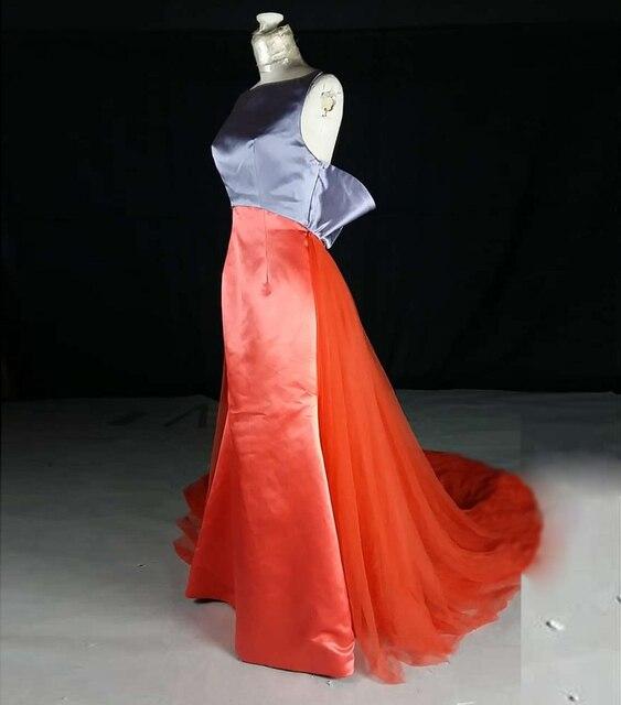 Echt Bild Rundhals Abnehmbaren Tüll Zug Lange Abendkleid Orange ...