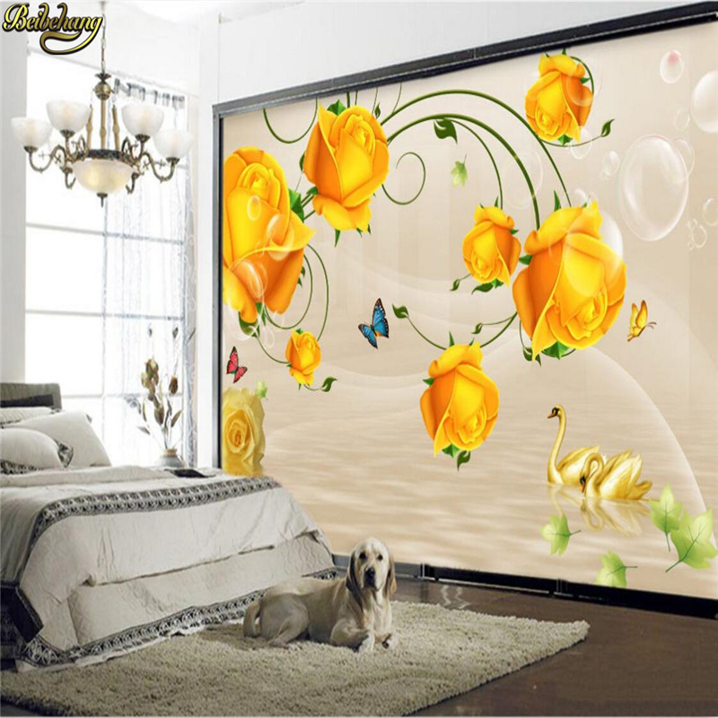 beibehang Custom Photo Wallpaper Large Mural Yellow Rose Reflected Bedroom Living Room TV Background Wall papel de parede