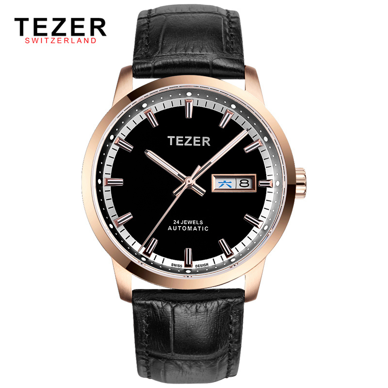 Famous Brand TEZER Automatic Self wind Mechanical 50M Water Resist Watch For Men Rose Gold Case