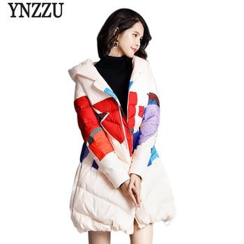 2018 New Winter Vintage Women's Down Jacket Chic Print Mid-Long 90% White Duck Down Coat Women Hooded Warm Lady Outwears AO769