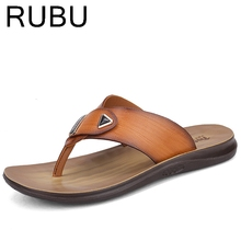 2017 Cow Leather Men Beach Slippers Fashion Flip Flops With Soft Sole Trendy Breathable Easy To Match Men Summer Shoes /03