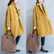 Top Quality Winter Extra-Long Wool Blend Coats for Women Thick Double-breasted Female Lapel Imitation Wool Long Trench Overcoat