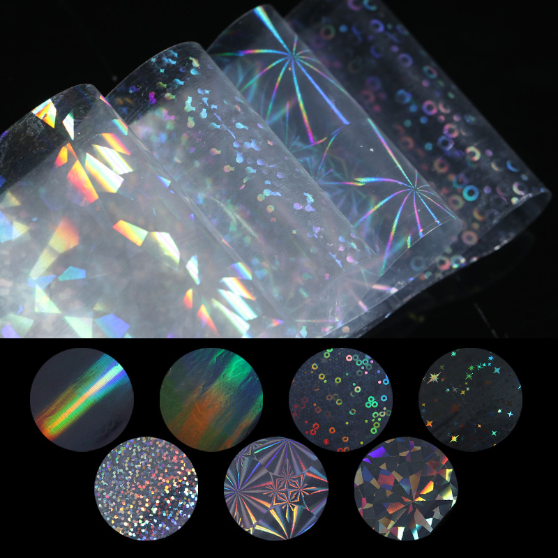 7Pcs Holographic Aurora Starry Nail Foil 4*20cm Manicure Nail Art Transfer Sticker Nail Decorations hot sale 20 sheets lot 20 4cm nail art transfer foil floral serial sexy black lace pattern nail sticker foil material diy wy188