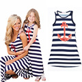New european style summer family clothing fashion blue and white striped vest dress girls 2-11T beach dress with anchors