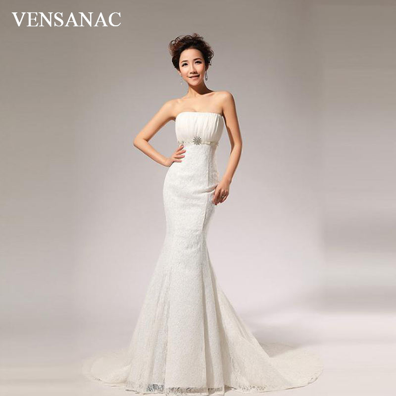 VENSANAC 2018 Pleat Strapless Lace Embroidery Sweep Train Mermaid Wedding Dresses Crystal Pearls Sash Bridal Gowns
