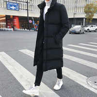Mens Long Down Jacket Coat Luxury Brand Winter Solid Black Parkas Men Plus Size 4XL Thick Warm Slim Fit Male Overcoat