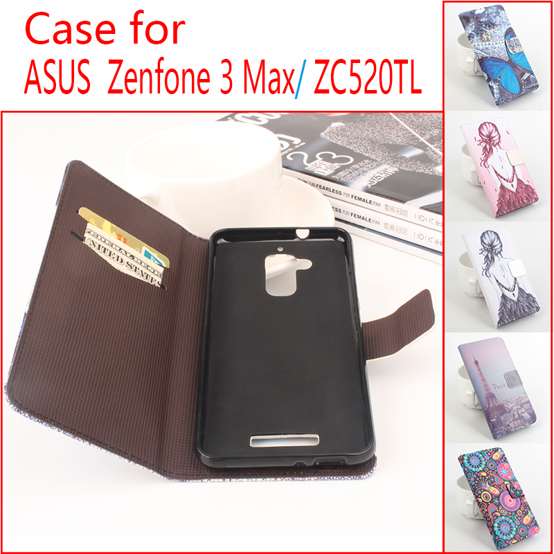 Cute Printing Leather Case Cover for Asus Zenfone 3 Max/ZC520TL Pink Wallet Phone Cases with Stand and Card Holder