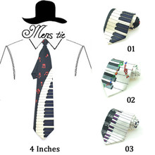 Good Fashion Novelty 4 Piano Key Board With Music Note Neckties Polyester Woven Classic Men's Party tie Gravatas Free Shipping