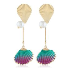 New Beach Multicolor Shell Simulated Pearl Pendant Earrings For Women Summer Fashion Statement Long Earring Jewelry Oorbellen(China)