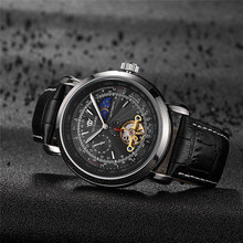 OUYAWEI Tourbillon Mechanical Wristwatches Luxury Brand Business Men Watch Leather Strap Watches for men Relogios Masculinos fashion couples wristwatches mens gold luxury brand women dress watch men relogios masculinos gift women watch