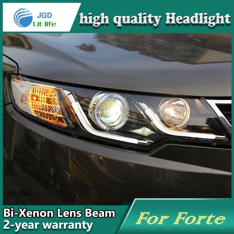 Car Styling Head Lamp case for Kia Forte 2009-2013 Headlights LED Headlight DRL Lens Double Beam Bi-Xenon HID car Accessories