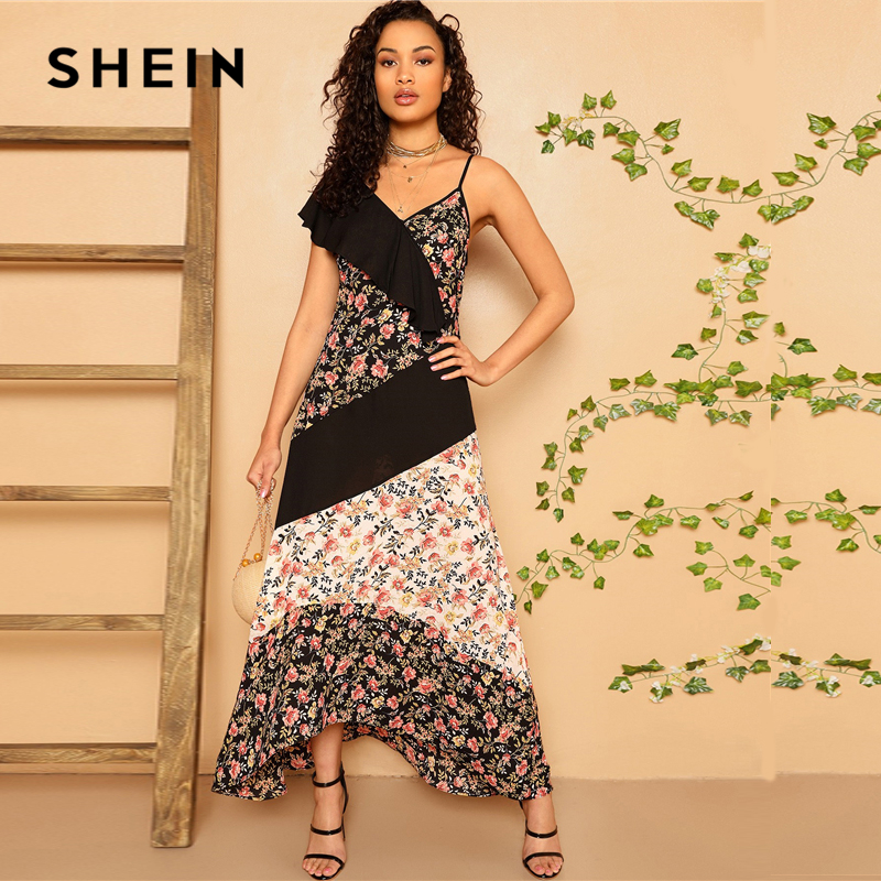SHEIN Boho контрастное Плиссированное Летнее Платье макси с цветным блоком и цветочным рисунком для женщин, Асимметричный вырез без рукавов при...