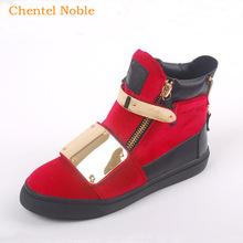 Casual Shoes Flats Zip-Sneakers Red-Color Unisex High-Quality Chentel Suede Metal Big-Size