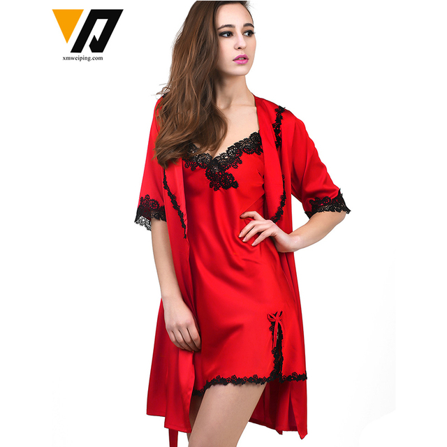 XMWEIPING New Arrival Sexy Women's Robe Set Mini Nightwear Indoor Sleepwear Silk Lace Short Sleeve Bathrobe Nightgown Two Pieces