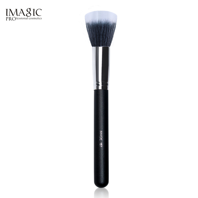 IMAGIC multifuncional de la lana de Nylon de fibra de pincel de maquillaje en polvo mezcla uniforme cepillo destacar maquillaje blanco y negro mezcla cepillo