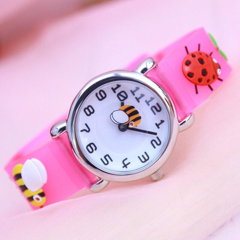 Women Children Girls Gifts Quartz Silicone Transparent Watches 3D Cartoon Ladybug Fashion Waterproof Clock Electronic Watches