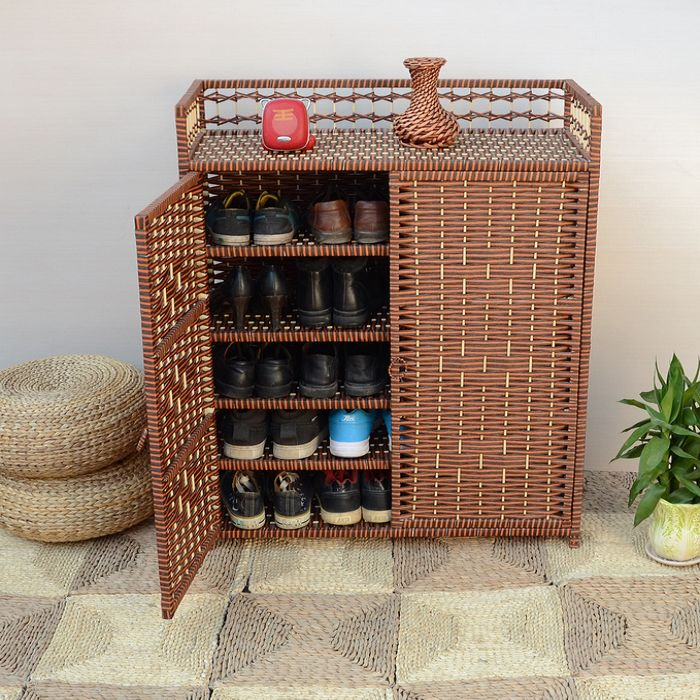 Fashion Hot Sell Straw Braid 40s-the Rattan Simple Shoe  Storage Cabinet  Free Shipping willow wood bamboo rattan straw bedside cabinet lockers storage cabinets debris cabinet