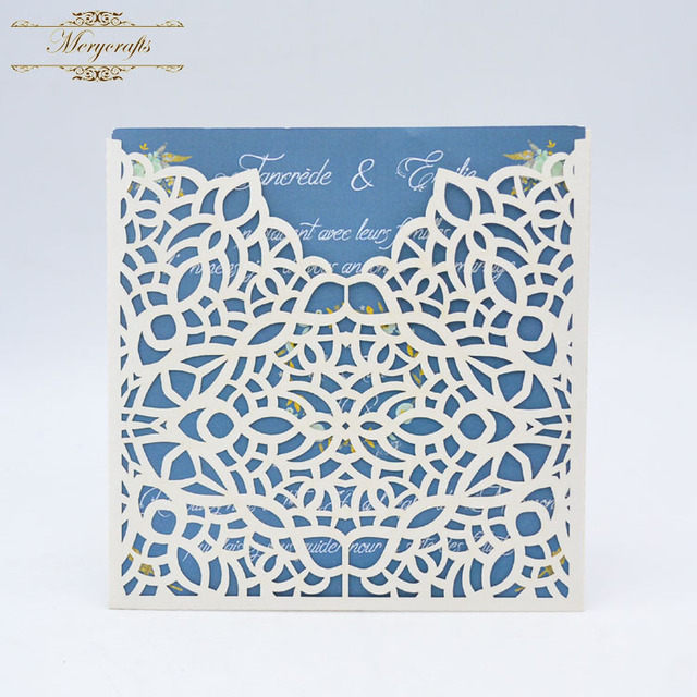 Chinese Supplier Elegant Lace Pattern Laser Cut Wedding Card Design