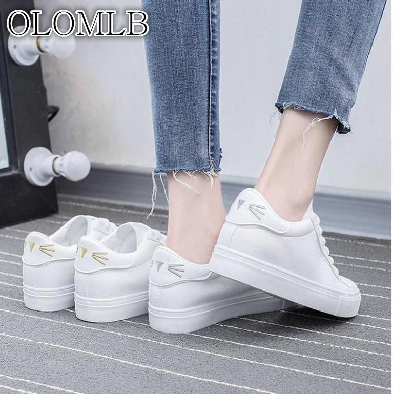 OLOMLB 2019 Spring Fashion Women Casual Shoes   Suede     Leather   Platform Shoes Women Sneakers Ladies White Trainers Chaussure Femme