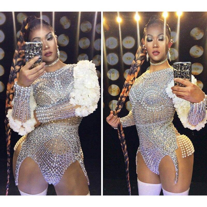 Luxury Pearls Rhinestone Club Bodysuit Women Floral Stretch   Jumpsuits   Party Costumes Dj Jazz Singer Stage Wear Dancer Leotard
