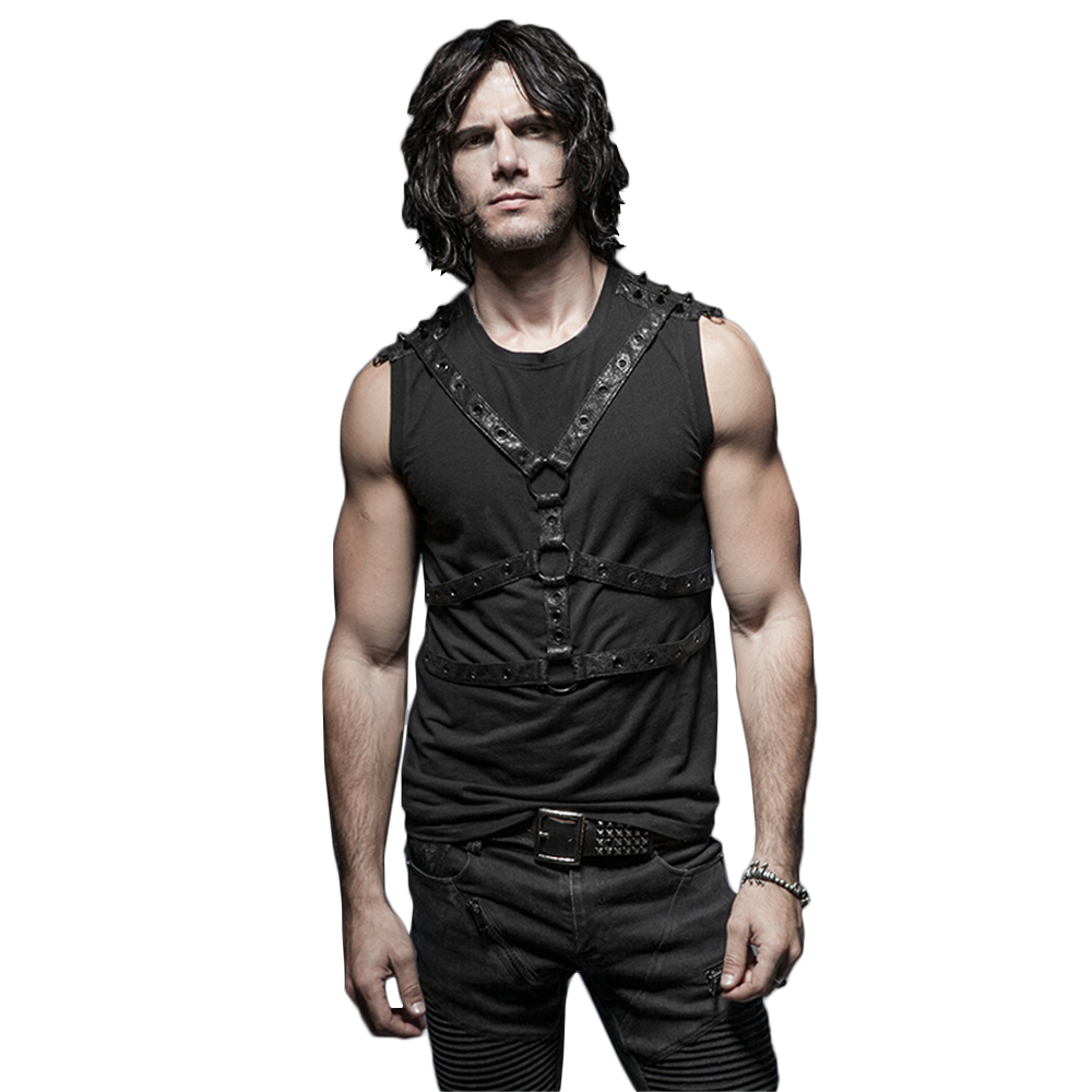cb2da0865f11c Punk Men Black Sleeveless Vest Shirt Stripe Docoration Circling Across  Summer Tank Tops Casual Tee Shirts