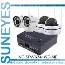 SunEyes SP-VK741WD-ME 4CH Мини Ip-камера ВИДЕОНАБЛЮДЕНИЯ NVR Комплект с 2 шт. беспроводной Купол и 2 шт. Пуля Ip-камера Наружного 720 P HD P2P