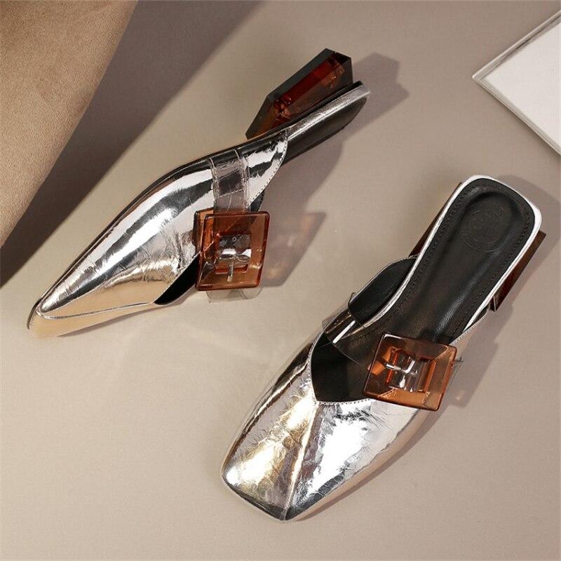 MSSTOR สายคล้องคอผู้หญิงรองเท้าแตะฤดูร้อนโปร่งใสสแควร์ Toe Casual Cow หนังรองเท้าแตะสตรีกลางแจ้งผสมสี Mules-ใน รองเท้าใส่ในบ้าน จาก รองเท้า บน   3