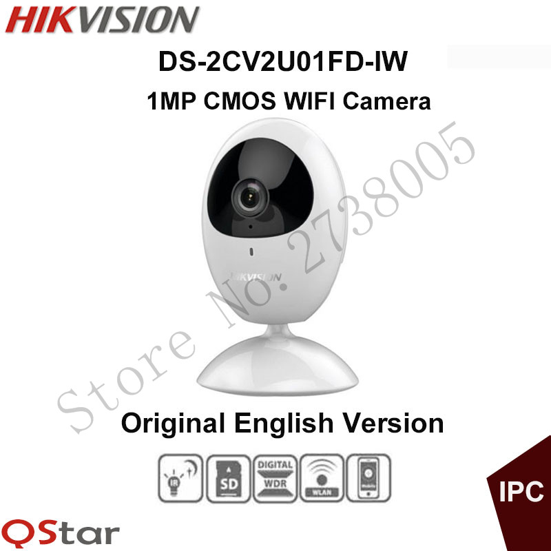 Hikvision mini Wireless Camera HD720P CMOS IP wifi Camera built in microphone and speaker support 64G SD Card DS-2CV2U01FD-IW [ in stock ] hikvision overseas wireless ip camera indoor outdoor ds 2cd2442fwd iw 4mp wifi camera built in microphone