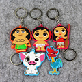 1pcs Newest 6cm Princess Moana Keychain Figure Toy Doll Bag Pendant Moana Maui Pua HeiHei Little Moana Toy Figure Keychain