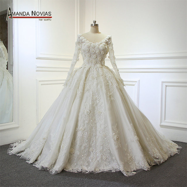 Luxury Shinny Flowers Wedding Dress Back Lace Up Real Work From Amanda Novias 2017