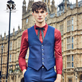 Brand Men Clothing Spring Autumn solid men suit vest waistcoat mens formal vest wedding gliet blue V-Neck slim fit England vest